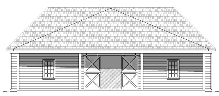 4 Car Garage Plan 51594 Rear Elevation