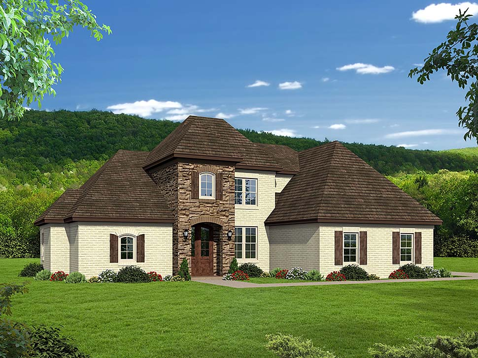 European House Plan 51595 with 4 Beds, 3 Baths, 2 Car Garage Elevation