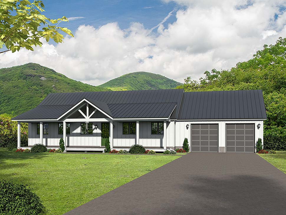 Ranch, Southern House Plan 51600 with 2 Beds, 2 Baths, 2 Car Garage Front Elevation