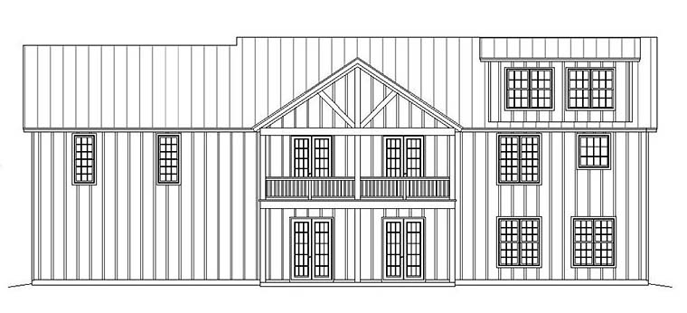Ranch, Southern House Plan 51600 with 2 Beds, 2 Baths, 2 Car Garage Rear Elevation