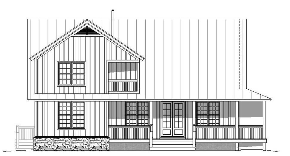 Country, Southern House Plan 51605 with 3 Beds, 3 Baths Rear Elevation