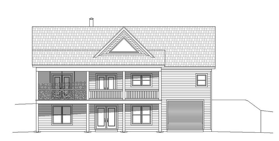 Contemporary, Country House Plan 51606 with 2 Beds, 2 Baths, 1 Car Garage Rear Elevation