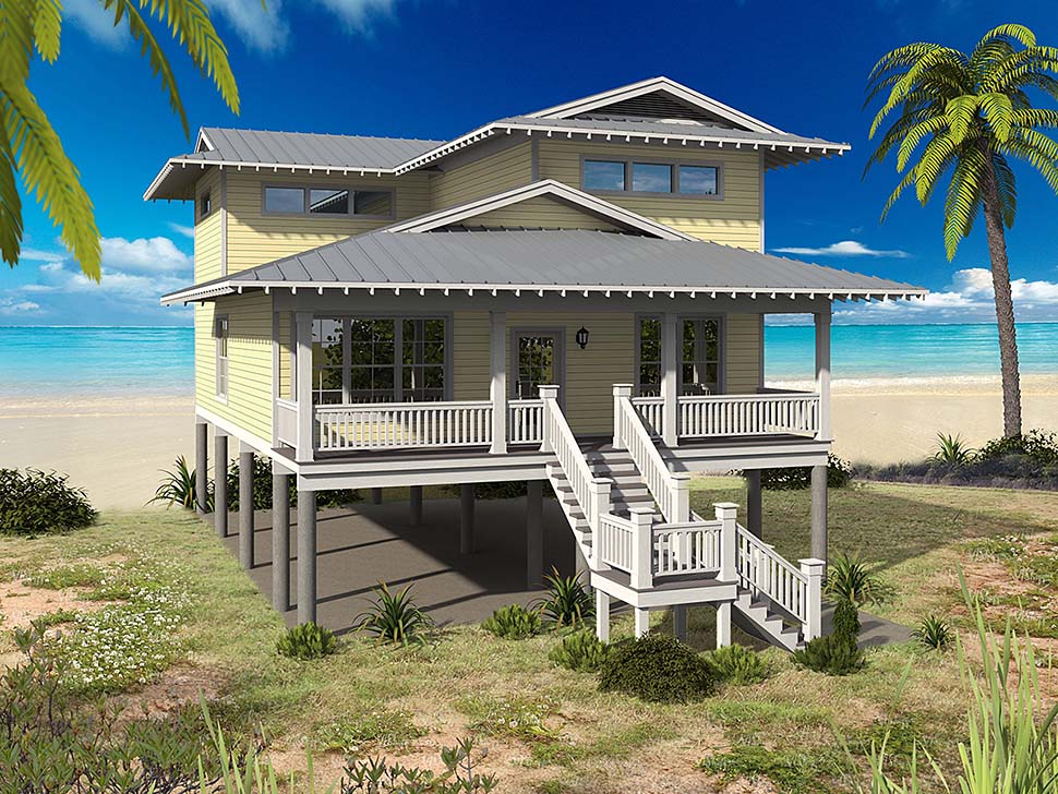 Coastal, Contemporary, Cottage House Plan 51611 with 5 Beds, 3 Baths, 2 Car Garage Front Elevation