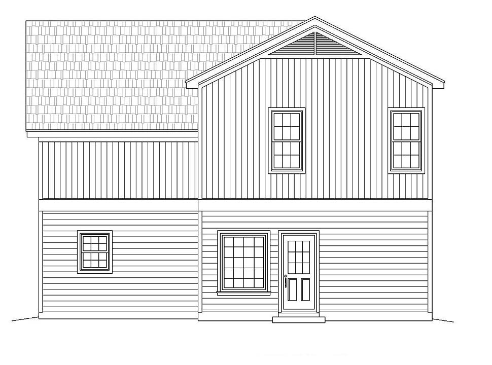 Traditional House Plan 51617 with 3 Beds, 3 Baths Rear Elevation