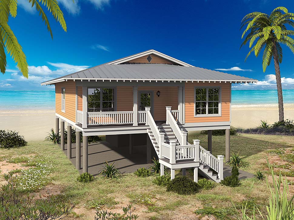 Coastal, Contemporary, Southern House Plan 51622 with 3 Beds, 2 Baths Elevation