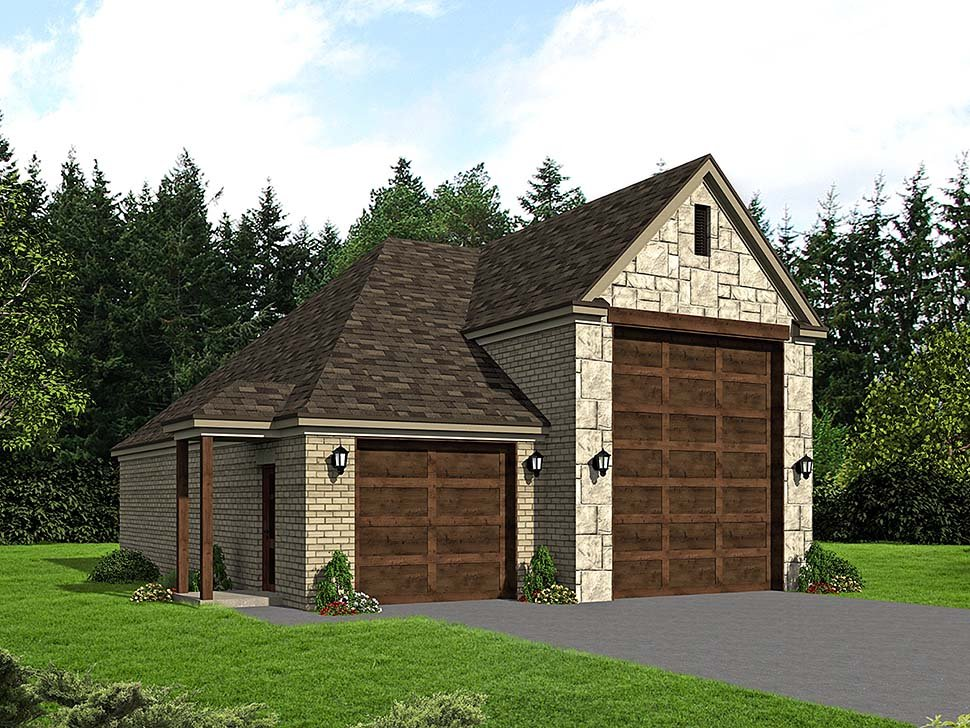 3 Car Garage Plan 51624, RV Storage Front Elevation