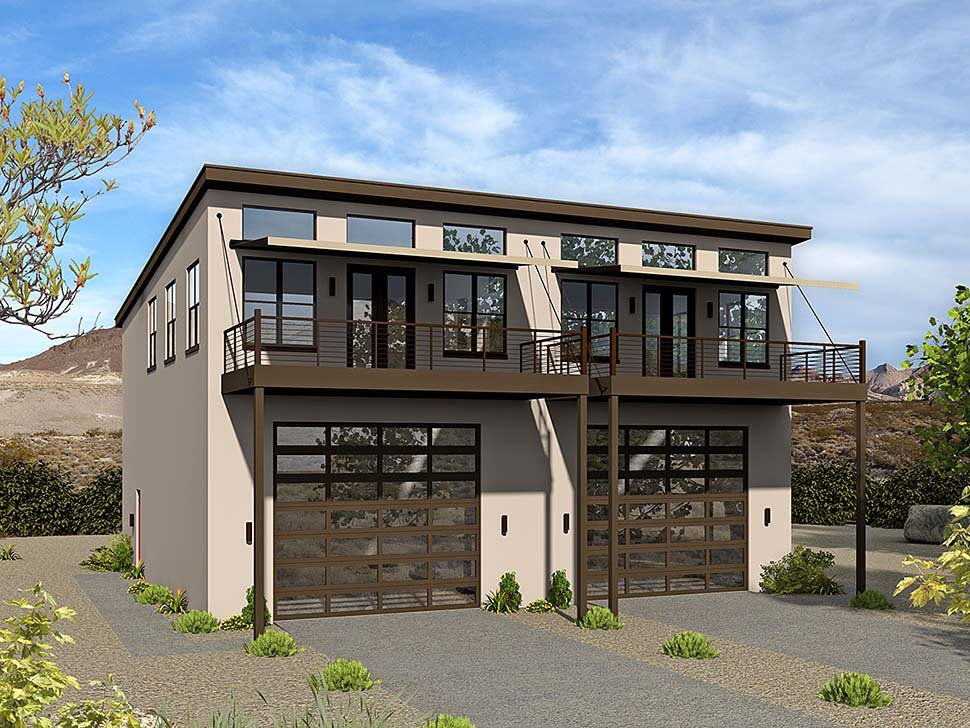 Coastal, Contemporary, Modern Multi-Family Plan 51636 with 6 Beds, 4 Baths, 4 Car Garage Front Elevation