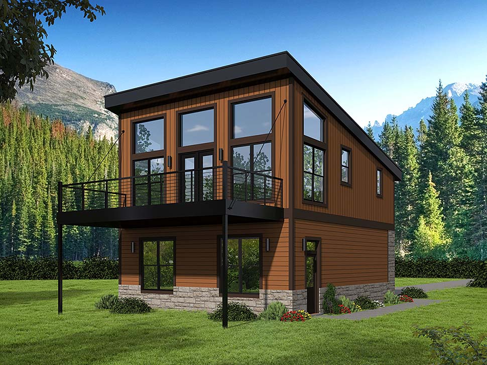 Coastal, Contemporary, Modern 2 Car Garage Apartment Plan 51652 with 1 Beds, 1 Baths Elevation