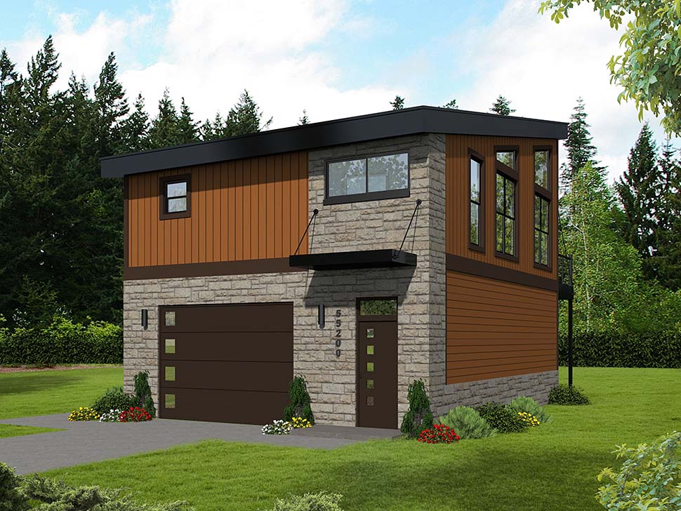 Coastal, Contemporary, Modern 2 Car Garage Apartment Plan 51652 with 1 Beds, 1 Baths Rear Elevation