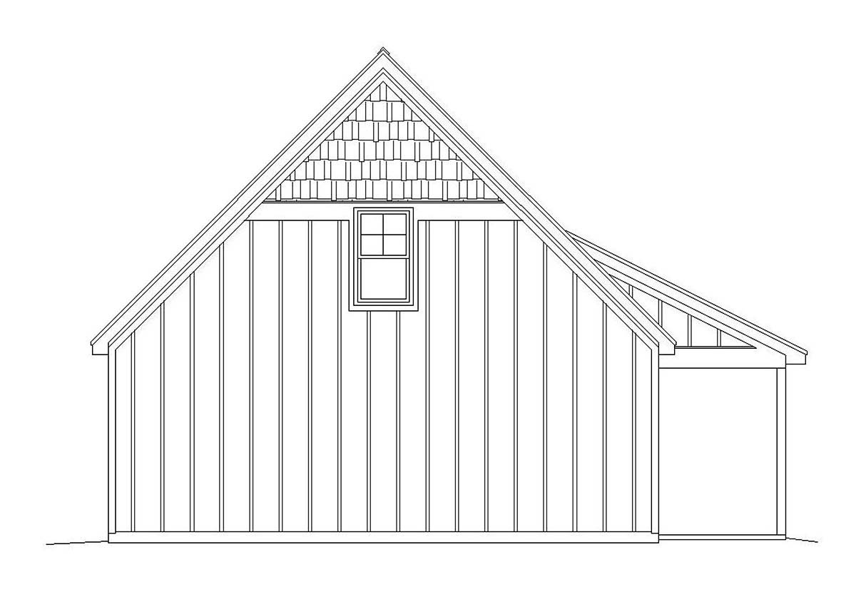 Bungalow, Country, Craftsman, Traditional 2 Car Garage Apartment Plan 51667 with 1 Beds, 1 Baths Rear Elevation