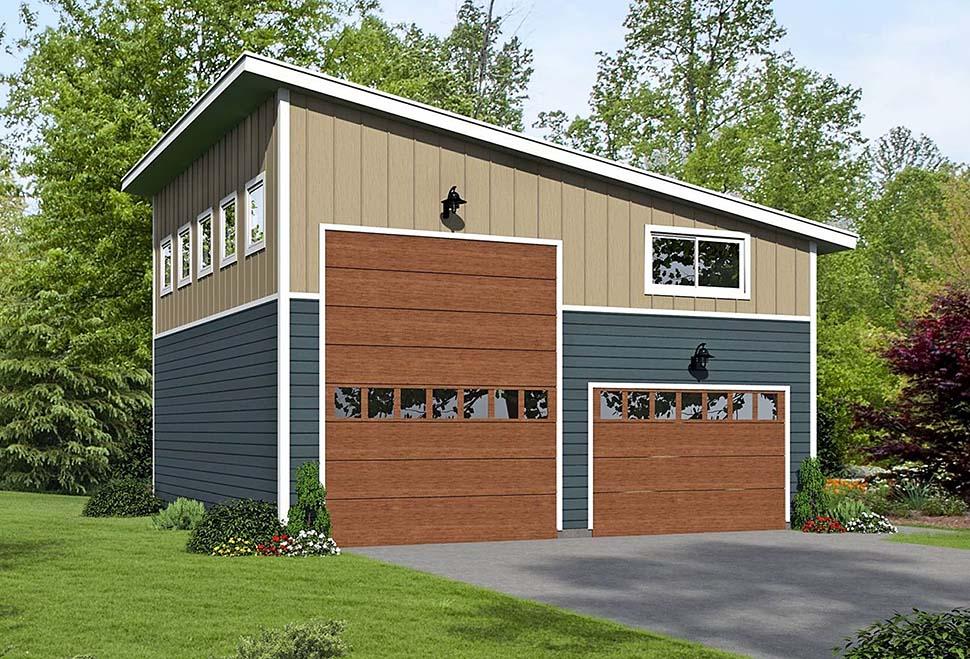 Cape Cod, Contemporary, Saltbox, Traditional 4 Car Garage Plan 51671, RV Storage Elevation