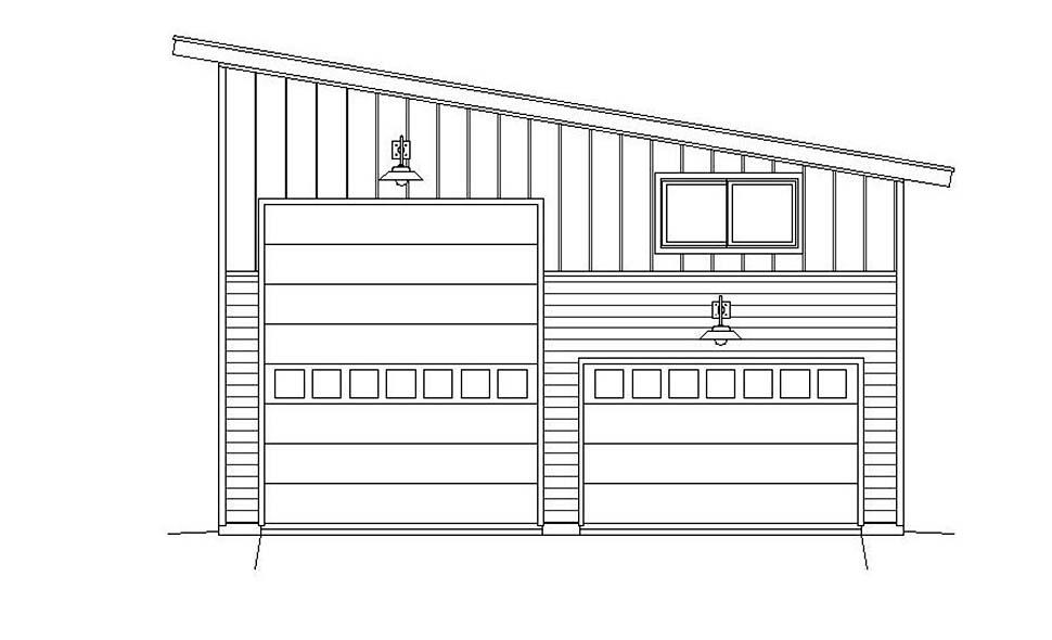 Cape Cod, Contemporary, Saltbox, Traditional 4 Car Garage Plan 51671, RV Storage Picture 3