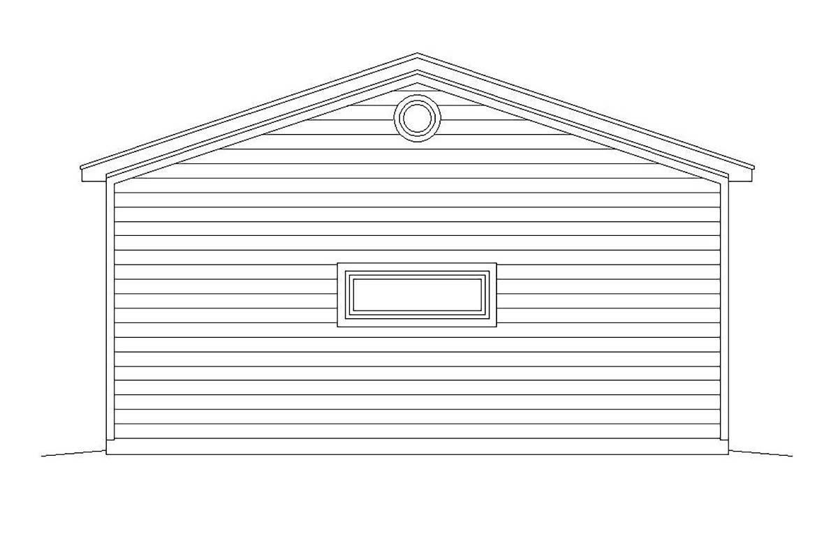 Bungalow, Cape Cod, Coastal, Colonial, Cottage, Country, Craftsman, Farmhouse, Prairie, Ranch, Saltbox, Traditional, Tudor 3 Car Garage Plan 51673 Rear Elevation