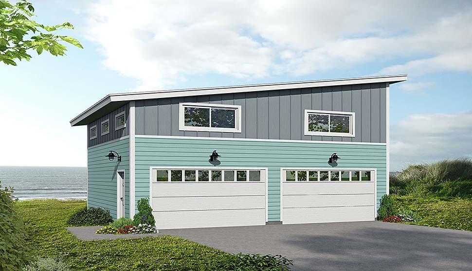 Cape Cod, Coastal, Contemporary, Modern, Saltbox 2 Car Garage Plan 51675 Elevation