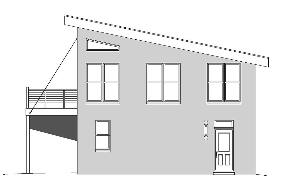 Coastal, Contemporary, European, Modern, Traditional 2 Car Garage Apartment Plan 51680 with 1 Beds, 2 Baths Picture 1