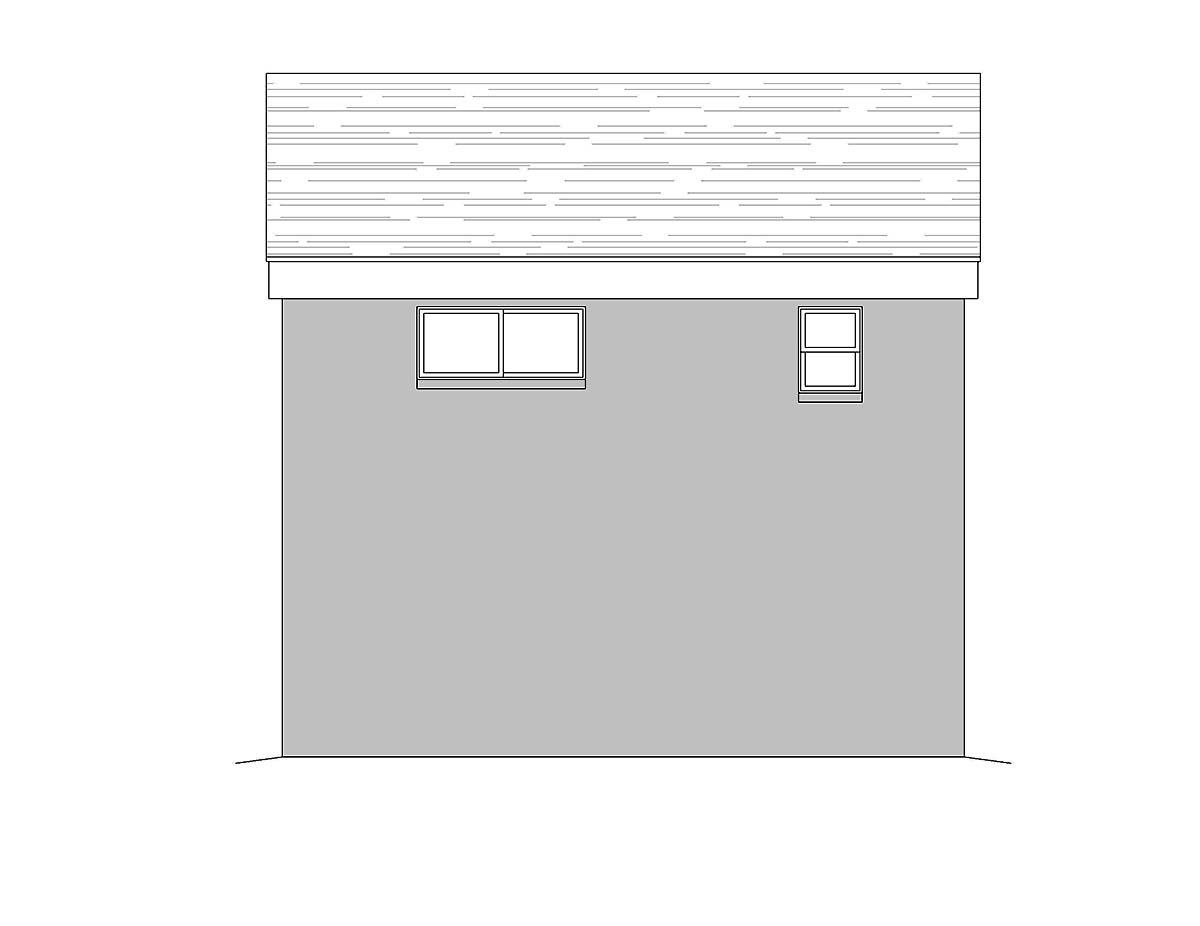 Coastal, Contemporary, Modern Garage-Living Plan 51680 with 1 Beds, 2 Baths, 2 Car Garage Rear Elevation