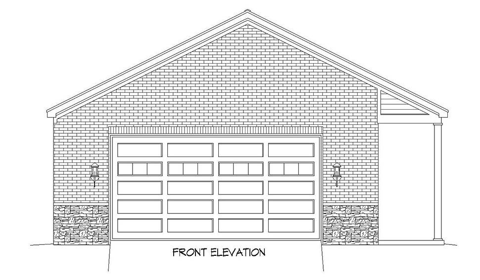 Colonial, European, Ranch, Traditional 2 Car Garage Plan 51683 Picture 3