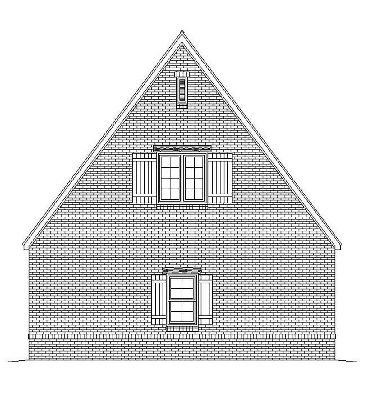 European, French Country, Traditional 2 Car Garage Plan 51684 Rear Elevation