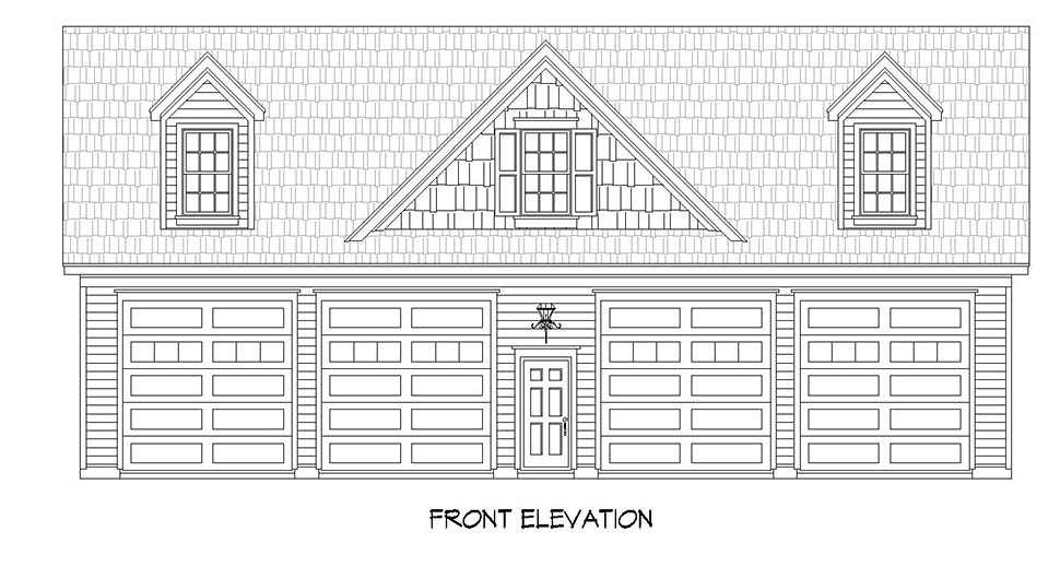 Cape Cod, Colonial, Country, Farmhouse, Saltbox, Traditional 4 Car Garage Plan 51686 Picture 1