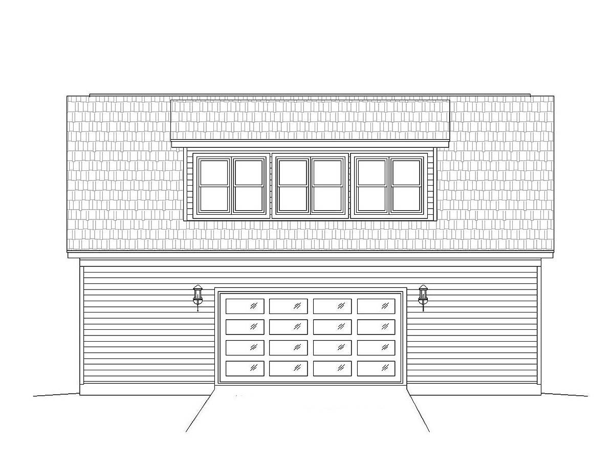 Cape Cod, Coastal, Colonial, Country, Farmhouse, Prairie, Ranch, Saltbox, Traditional 4 Car Garage Plan 51690 Rear Elevation