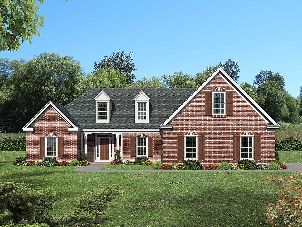 Bungalow, Colonial, Country, Craftsman, European, Farmhouse, French Country, Ranch, Traditional House Plan 51694 with 3 Beds, 3 Baths, 2 Car Garage Elevation
