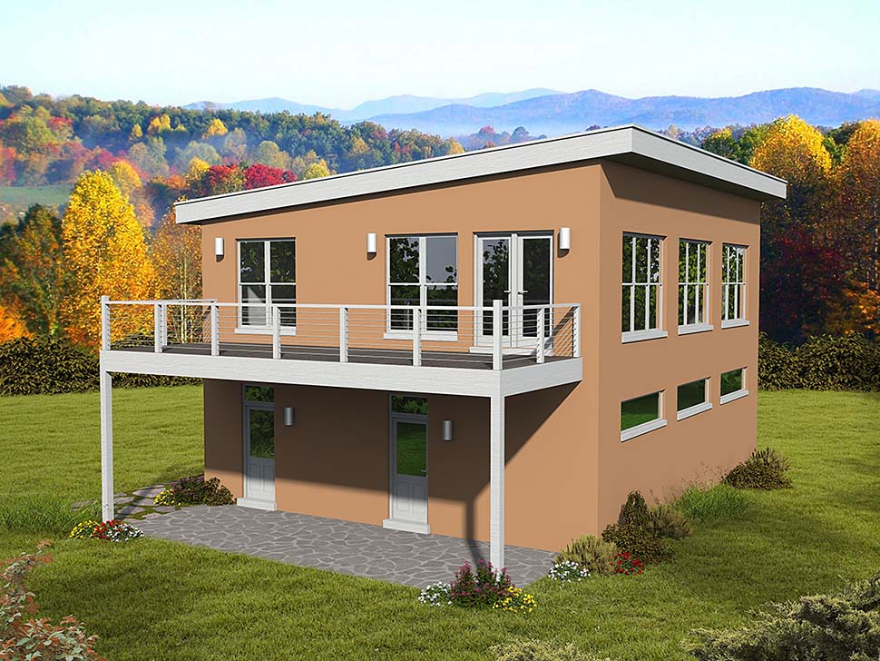Coastal, Contemporary, Modern Garage-Living Plan 51695 with 1 Beds, 2 Baths, 3 Car Garage Elevation