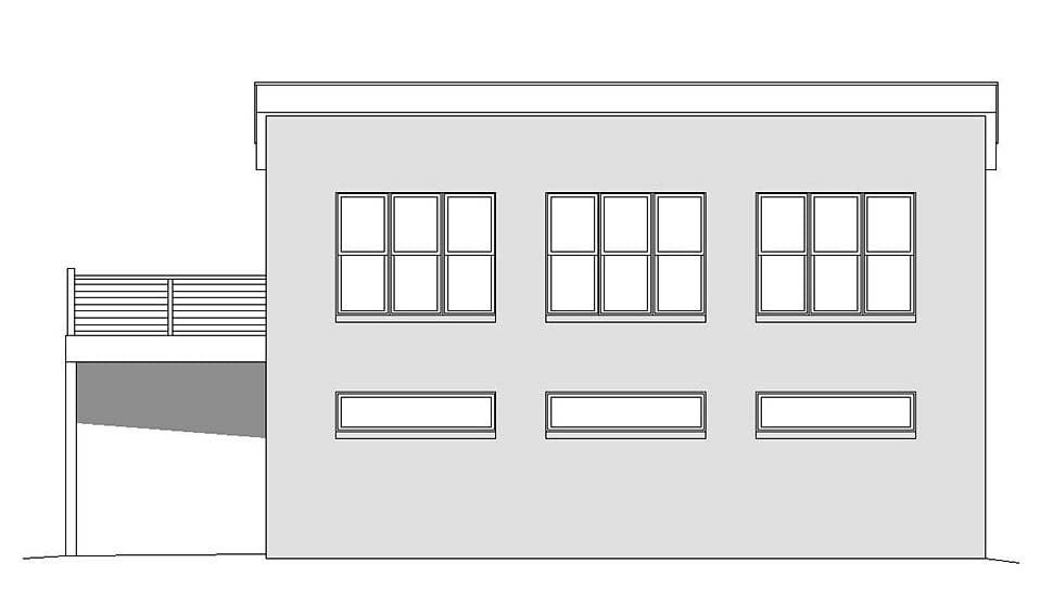 Coastal, Contemporary, Modern Garage-Living Plan 51695 with 1 Beds, 2 Baths, 3 Car Garage Picture 3
