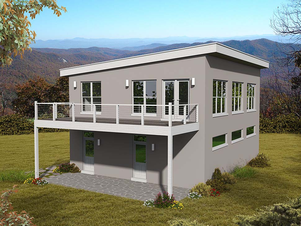 Coastal, Contemporary, Modern Garage-Living Plan 51695 with 1 Beds, 2 Baths, 3 Car Garage Picture 4