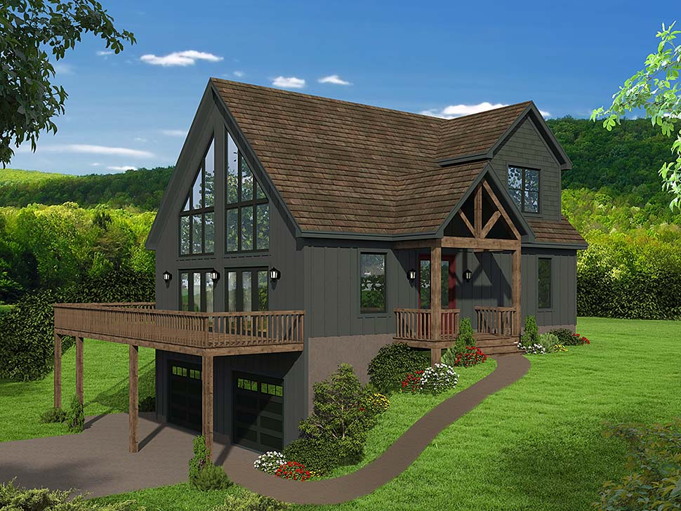 Contemporary, Country, Craftsman House Plan 51696 with 3 Beds, 2 Baths, 2 Car Garage Elevation