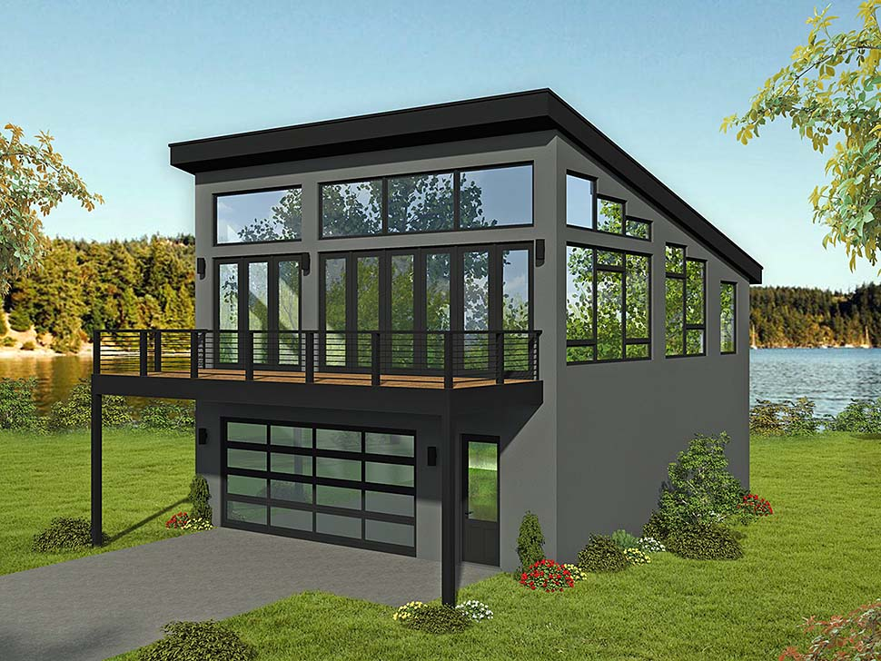 Coastal, Contemporary, Modern Garage-Living Plan 51698 with 1 Beds, 2 Baths, 2 Car Garage Elevation