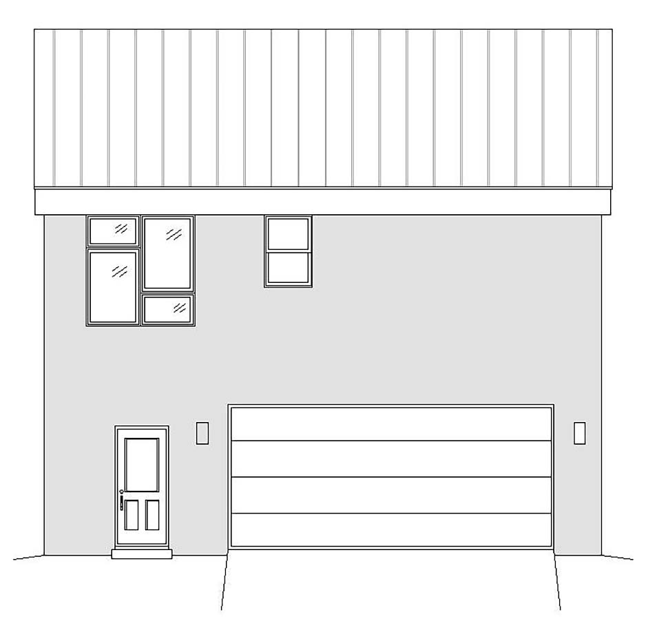 Coastal, Contemporary, Modern Garage-Living Plan 51698 with 1 Beds, 2 Baths, 2 Car Garage Rear Elevation