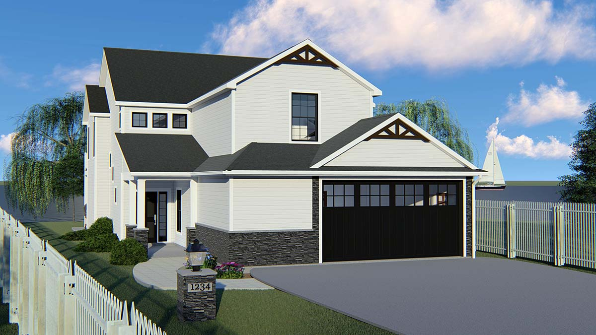 Bungalow, Cottage, Country, Craftsman, Traditional, Tudor House Plan 51800 with 5 Beds, 4 Baths, 2 Car Garage Elevation