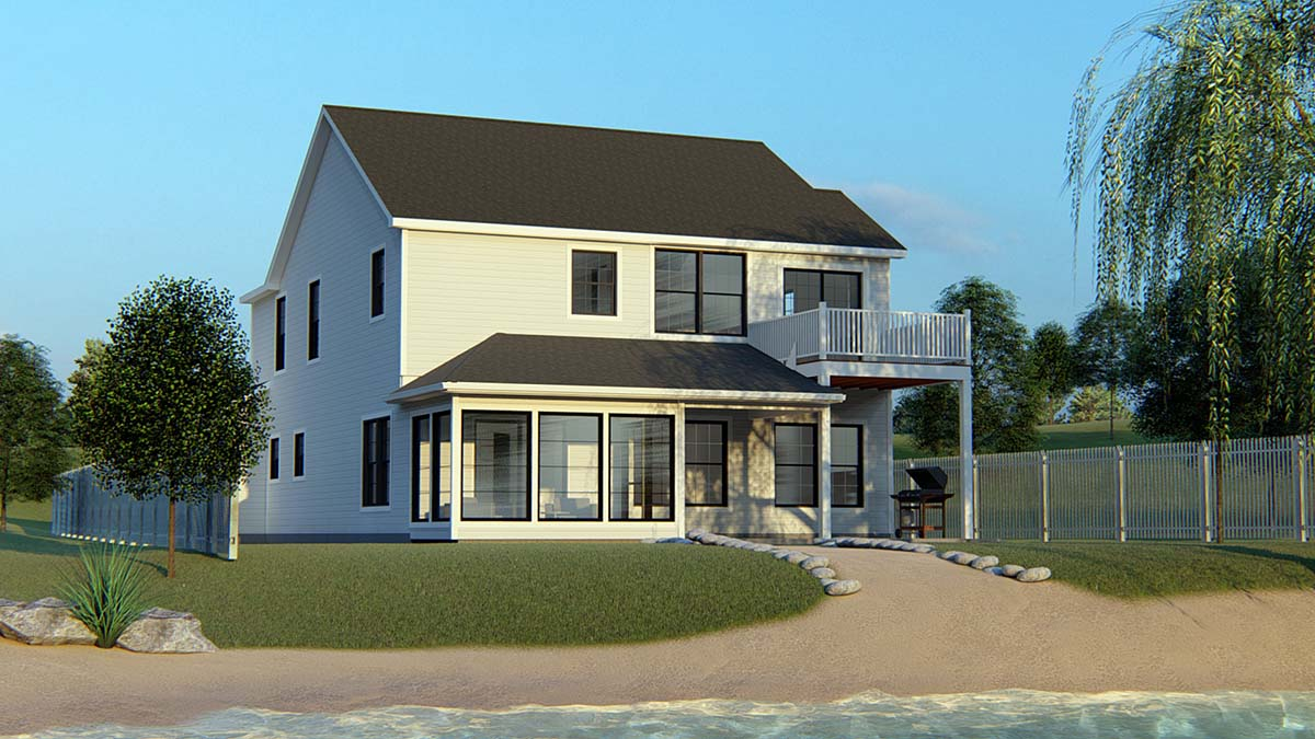 Bungalow, Cottage, Country, Craftsman, Traditional, Tudor House Plan 51800 with 5 Beds, 4 Baths, 2 Car Garage Rear Elevation
