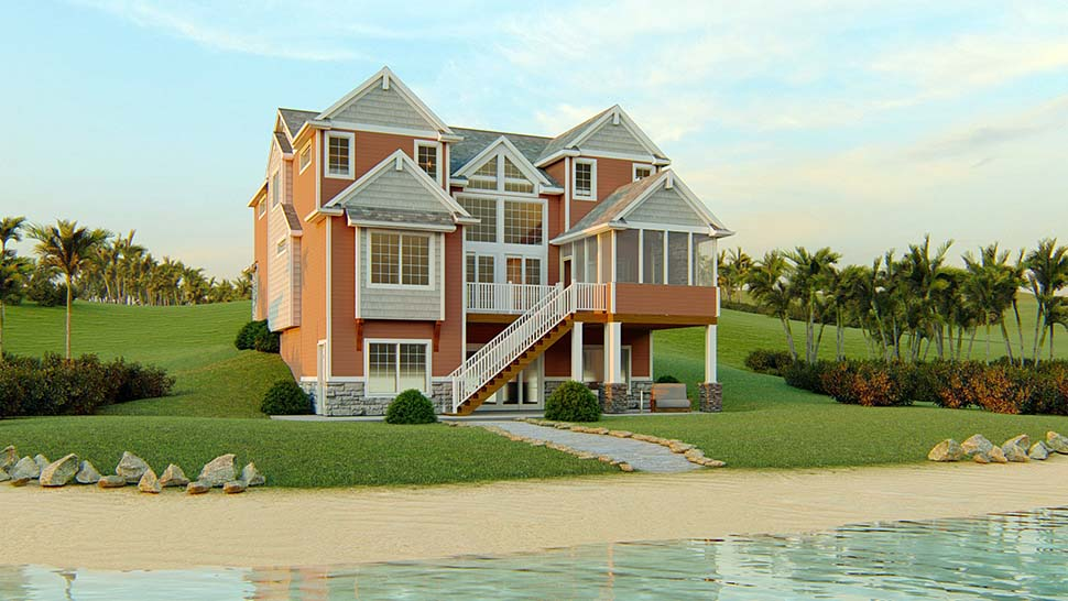 Bungalow, Coastal, Cottage, Country, Craftsman, Traditional, Tudor House Plan 51818 with 5 Beds, 4 Baths, 1 Car Garage Rear Elevation