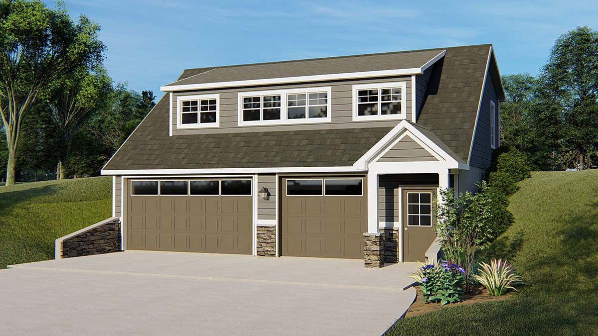 Bungalow, Cottage, Country, Craftsman, Tudor 2 Car Garage Apartment Plan 51820 with 2 Beds, 2 Baths Front Elevation