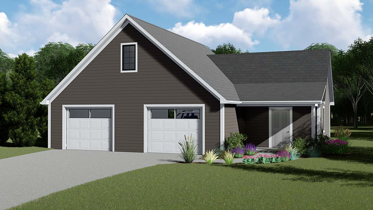 Cottage, Country, Traditional 2 Car Garage Apartment Plan 51842 Front Elevation