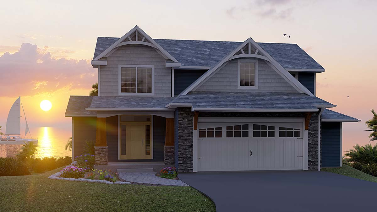 Cottage, Country, Craftsman, European, Traditional House Plan 51845 with 65 Beds, 5 Baths, 2 Car Garage Elevation