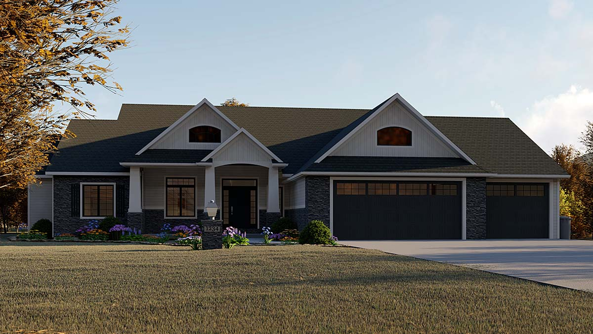 Country, Craftsman, Ranch, Traditional House Plan 51846 with 5 Beds, 4 Baths, 3 Car Garage Elevation
