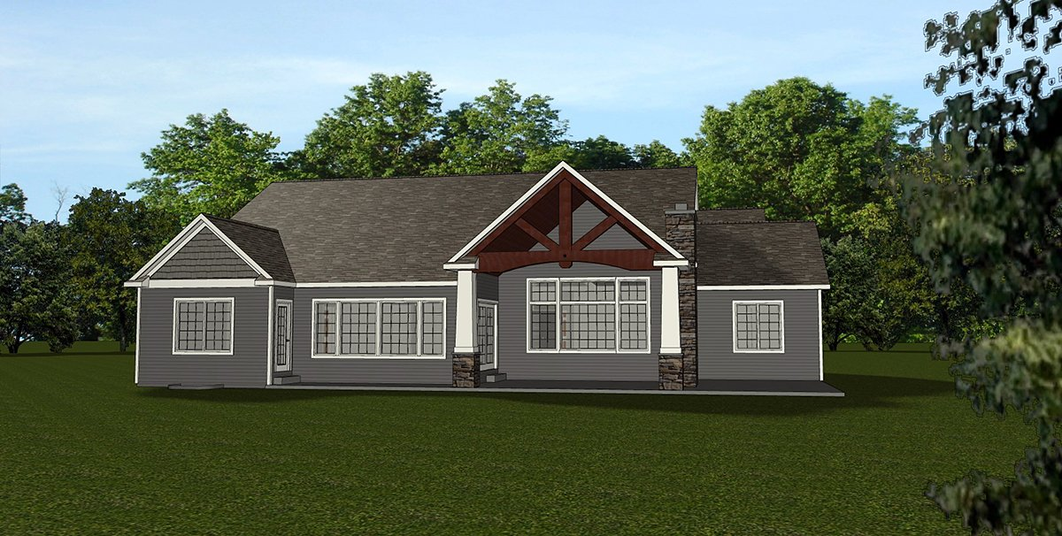 Country, Craftsman, Ranch, Traditional House Plan 51846 with 5 Beds, 4 Baths, 3 Car Garage Rear Elevation