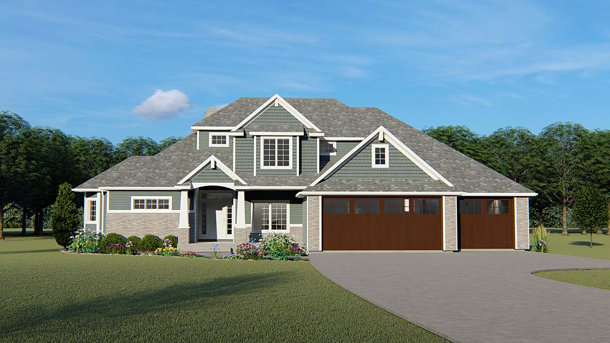 Craftsman, Ranch, Traditional House Plan 51847 with 4 Beds, 4 Baths, 3 Car Garage Elevation