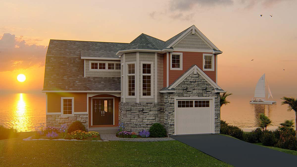 Bungalow, Coastal, Cottage, Craftsman House Plan 51848 with 6 Beds, 4 Baths, 1 Car Garage Elevation