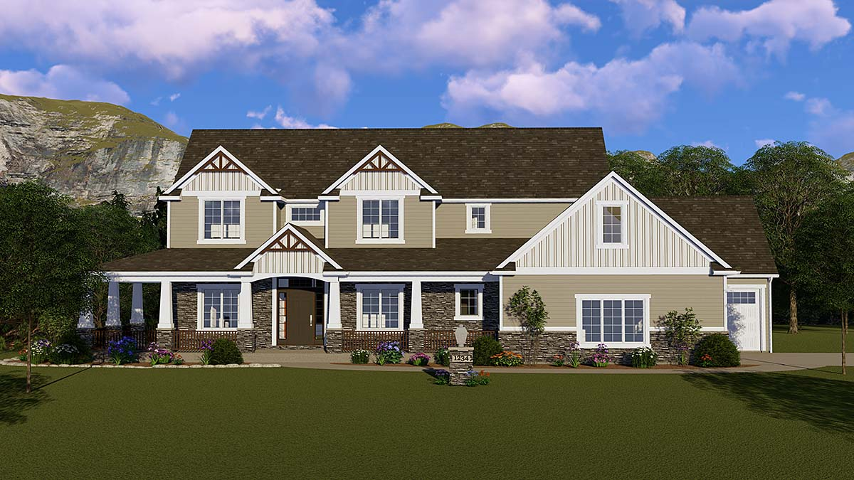 Country, Craftsman, Ranch, Traditional House Plan 51849 with 4 Beds, 4 Baths, 3 Car Garage Elevation