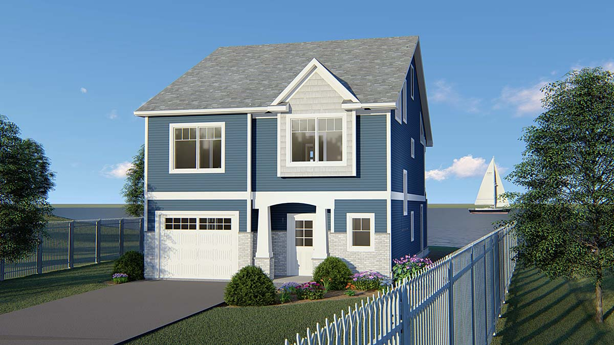 Coastal, Cottage, Country, Craftsman, Traditional House Plan 51850 with 3 Beds, 3 Baths, 1 Car Garage Elevation
