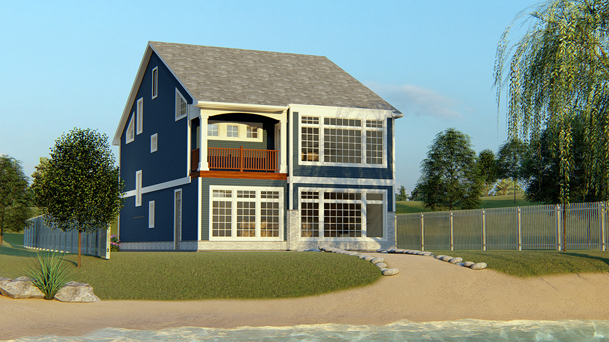 Coastal, Cottage, Country, Craftsman, Traditional House Plan 51850 with 3 Beds, 3 Baths, 1 Car Garage Rear Elevation