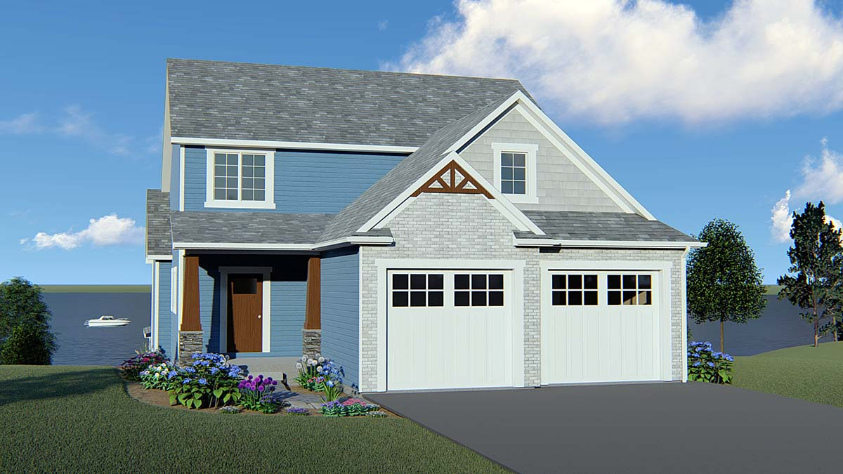 Coastal, Cottage, Country, Craftsman, Traditional House Plan 51852 with 3 Beds, 3 Baths, 2 Car Garage Elevation