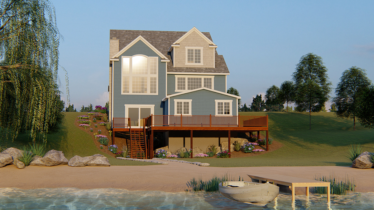 Coastal, Cottage, Country, Craftsman, Traditional House Plan 51852 with 3 Beds, 3 Baths, 2 Car Garage Rear Elevation
