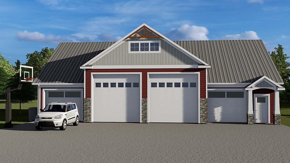 Bungalow, Country, Craftsman 3 Car Garage Plan 51853 Elevation
