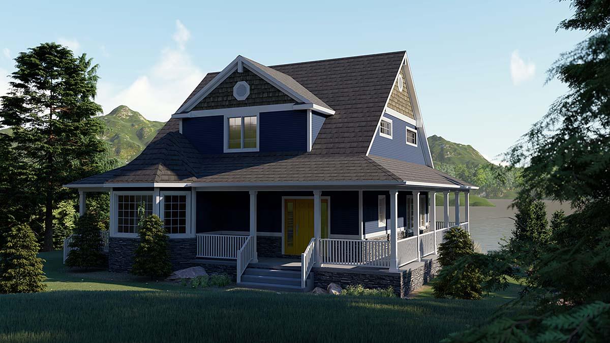 Coastal, Cottage, Craftsman House Plan 51855 with 4 Beds, 3 Baths Elevation