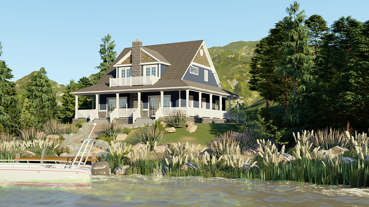 Coastal, Cottage, Craftsman House Plan 51855 with 4 Beds, 3 Baths Rear Elevation