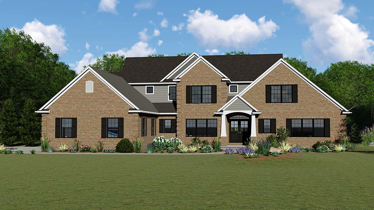 Country, Craftsman, European, Traditional House Plan 51859 with 5 Beds, 4 Baths, 2 Car Garage Elevation
